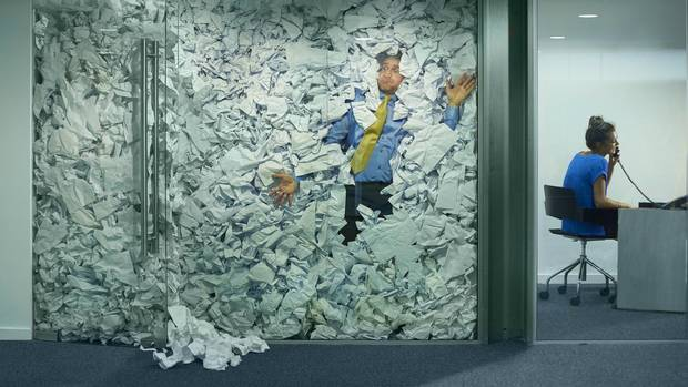 Office willed with paper