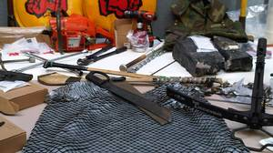 Toronto Police display some of the items they say were seized during G20 summit protests over the weekend.