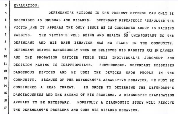A probation officer's report in 1998 from the Superior Court of California, County of Los Angeles, notes Mr. Brylla's 'unusual and bizarre' behaviour.