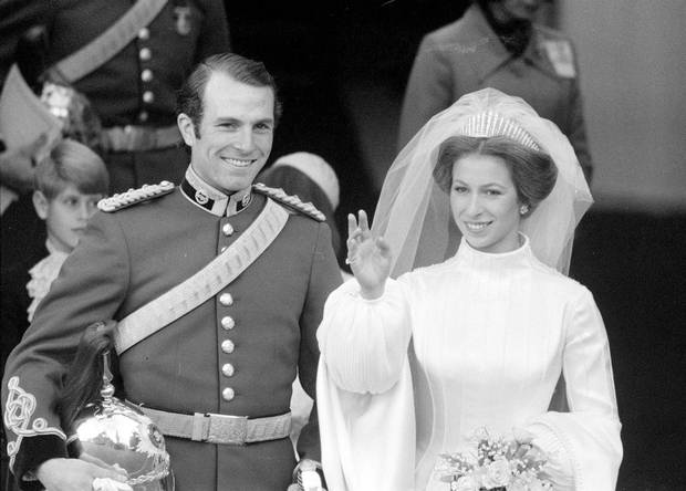 Princess Anne and Captain Mark Phillips leaving after their wedding ceremony at London's Westminster Abbey in November, 1973.