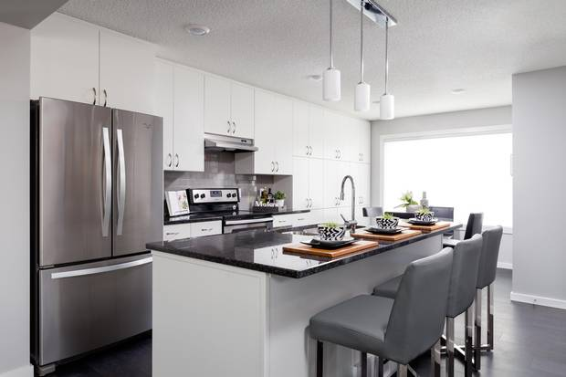 The kitchen of Landmark Group's net-zero home.