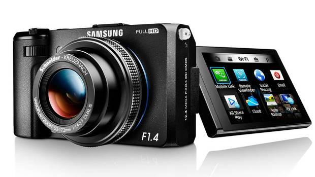 Samsung EX2F: A small camera for serious enthusiasts, Samsung's EX-F2 sports a super bright, high-performance 24- to 80-millimetre f/1.4-2.7 equivalent lens and a satisfyingly large 1/1.7-inch 12-megapixel CMOS image sensor great for capturing both stills and high-definition video. And with Wi-Fi support there's no need to connect to a PC before uploading to the cloud. Samsung even managed to stuff an articulating touch screen into its relatively skinny body. ($549.99; samsung.com/ca) (HANDOUT)