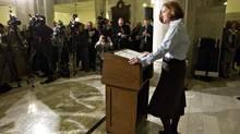 Alberta Premier Alison Redford announced her resignation in Edmonton, Alberta on Wednesday March 19, 2014. (JASON FRANSON/THE CANADIAN PRESS)