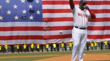 Boston Red Sox player David Ortiz addresses fans during a pre-game ceremony honouring the victims of the Boston Marathon bombings, before the team's game against the Kansas City Royals at Fenway Park on April 20, 2013. (Jessica Rinaldi/Reuters)