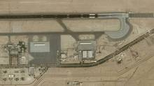 Al Minhad Air Base in Dubai, United Arab Emirates. Camp Mirage is located in the cluster of buildings at bottom left. (Google Earth)