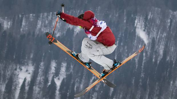 Canadian freestyle skier Dara Howell during her gold-medal run on Feb. 11, 2014 at the Sochi Winter Olympics.