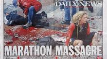 The front-page wraparound of Tuesday's New York Daily News shows a photograph that was shot by Boston Globe photographer John Tlumacki after the explosions at the Boston Marathon. The photo was manipulated by the Daily News so that it did not show the open leg wound that the woman in black in the background had suffered from the explosion. (NYT)