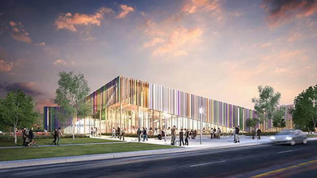 A rendering of the Albion library, designed by the Toronto office of architects Perkins + Will
