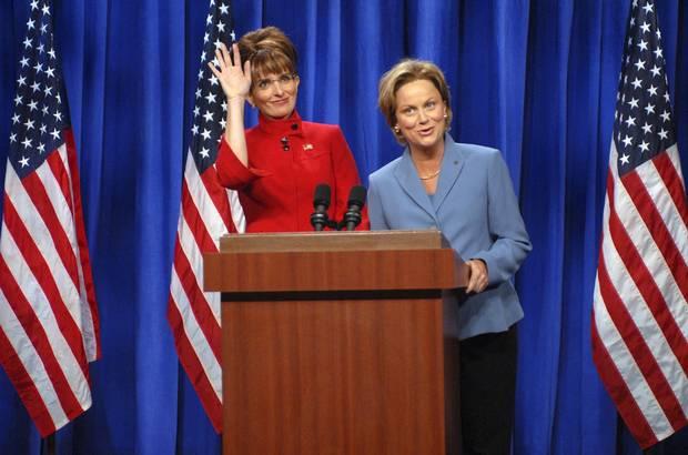 Actress Tina Fey plays Governor Sarah Palin and actress Amy Poehler plays Senator Hillary Clinton on