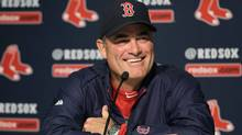 Boston Red Sox manager John Farrell smiles during a news conference before an Opening Day baseball game against the New York Yankees, Monday, April 1, 2013, in New York. (Associated Press)
