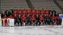 Members of the Canadian National Junior team pose for their team photo after the team was named at the Team Canada selection camp in Calgary, Alberta, December 14, 2012. (TODD KOROL/REUTERS)