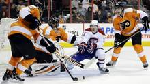 Flyers' Luke Schenn during the first period of Wednesday's game against Montreal in Philadelphia. (Matt Slocum/AP)
