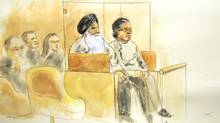 67-year-old Surjit Badesha and 63-year-old Malkit Sidhu are seen in this artist impression at B.C. Supreme Court. (Sheila Allan/Sheila Allan)