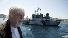 Paul Watson, shown in 2011 in France, refuses to give his current location, saying only that he is somewhere at sea. (Patrick Gherdoussi/ASSOCIATED PRESS)