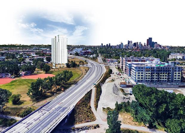 A rendering for a proposed condominium project called 'The Grid' in East Inglewood, Calgary.