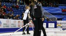 Canada's skip Rachel Homan reacts after a shot during her draw against Switzerland at the World Women's Curling Championships in St.John, New Brunswick, March 16, 2014. (MATHIEU BELANGER/Reuters)