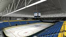 Concept for the rink and seating with the famous Garden's clock at the Ryerson Universioty Sports and Recreation centre at Maple Leaf Gardens. (BBB Architects/BBB Architects)