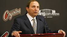 NHL Commissioner Gary Bettman talks during a news conference before the NHL game between the Phoenix Coyotes and the Vancouver Canucks in Glendale, Arizona March 8, 2011. (RICK SCUTERI)