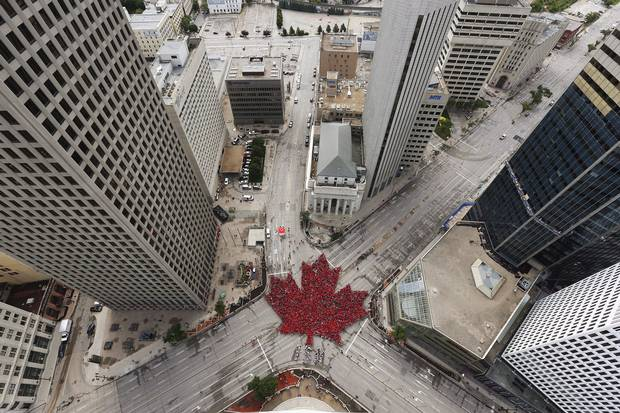 2017: Winnipeggers form a 'living leaf' of 4,000 people at Portage and Main on July 1, marking 150 years of Canadian Confederation.