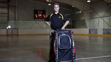 Greg Collins, owner of Grit Inc., with a Grit Hockey Tower bag in Tottenham, Ont., May 6, 2013. Grit has filed a case in Federal Court alleging Reebok subsidiary Sport Maska Inc. has started marketing a new hockey bag that is similar to Grit's well-known Hockey Tower. Grit alleges the design infringes on its registered industrial design and patent. (Matthew Sherwood for The Globe and Mail)