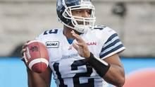 Toronto Argonauts' quarterback Jarious Jackson looks for a receiver during second half CFL against the Montreal Alouettes in Montreal, Sunday, September 23, 2012. (Graham Hughes/THE CANADIAN PRESS)
