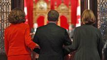 Re-appointed Conservative senator Fabian Manning is escorted into the Red Chamber during a Parliament Hill swearing-in ceremony on June 7, 2011. (CHRIS WATTIE/REUTERS)