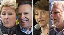 Parti Québécois Leader Pauline Marois; Coalition Avenir Québec Leader François Legault; Quebec Solidaire Leader Françoise David; and Liberal Leader Philippe Couillard. (RYAN REMIORZ, GRAHAM HUGHES AND JACQUES BOISSINOT/THE CANADIAN PRESS)