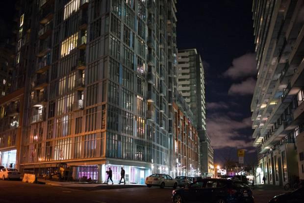 Condominium high rise buildings in Toronto's West Queen West neighbourhood.