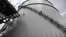 A 12-storey LNG storage tank. A rolled steel and double-walled, perlite-insulated cryogenic tank that can keep 1.5 billion cubic feet of natural gas in compressed liquid form, chilled to -160 degrees Celsius at the Mt. Hayes Natural Gas Storage Facility in Mt. Hayes, B.C. (CHAD HIPOLITO For The Globe and Mail)