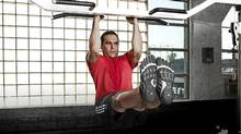 Michael Cammalleri of the Calgary Flames works out in the adipure trainer. (Handout)