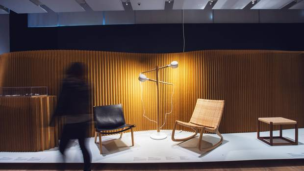Derek Mcleod's Leather Sling Chair, Brian Richler and Kei Ng's Deadstock Floor Lamp and Shawn Place's SP210 Rocking Chair is seen at the True Nordic exhibition.