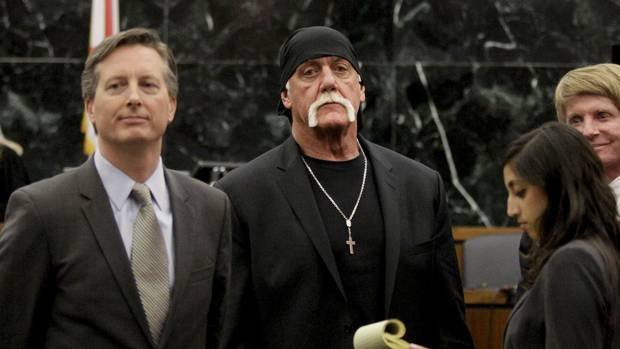 Hulk Hogan, looks on in court moments after a jury returned its decision in his lawsuit against Gawker Media on Monday, March 21, 2016, in St. Petersburg, Fla.
