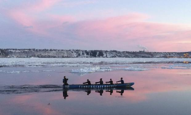 Ice canoeing requires the use of oars, not paddles. About 3.5 metres long, the oars feature sharp picks for pushing off ice floes.