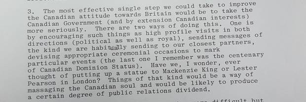 An excerpt from the documents about building statues of Canadian prime ministers.