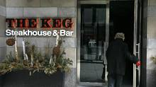 Customers head in and out of The Keg, Steakhouse and Bar on Yonge Street, south of Eglinton Avenue in Toronto, Ontario, Canada. (The Globe and Mail/Deborah Baic/The Globe and Mail/Deborah Baic)