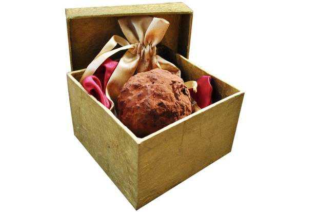 This chocolate truffle is made by a Connecticut chocolatier and costs $320. It has a real French truffle inside.