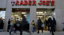Shoppers line up inside Trader Joe's for the grand opening on 14th Street on March 17, 2006 in New York . (MICHAEL NAGLE/GETTY IMAGES/Getty Images)