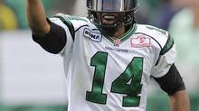 Saskatchewan Roughriders' James Patrick celebrates (Jimmy Jeong/The Canadian Press)