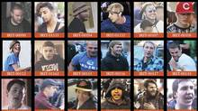 Several wanted posters of suspected Stanley Cup rioters distributed by the Vancouver Police Department. (Handout/Handout)