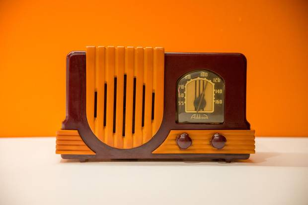 Addison Radio, 1940: This 'Waterfall' model created in a Toronto plant after the Second World War and popular among collectors, is made of Catalin, a phenolic resin that took on vivid hues better than other plastics of the time.