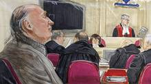 Artist's sketch shows accused serial killer Robert Pickton taking notes as Judge James Williams instructs the jury at Pickton's murder trial in New Westminster, B.C., Nov. 30, 2007. (LYLE STAFFORD)