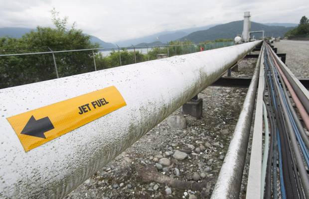 A pipeline is pictured at the Kinder Morgan Trans Mountain expansion project in Burnaby, B.C.