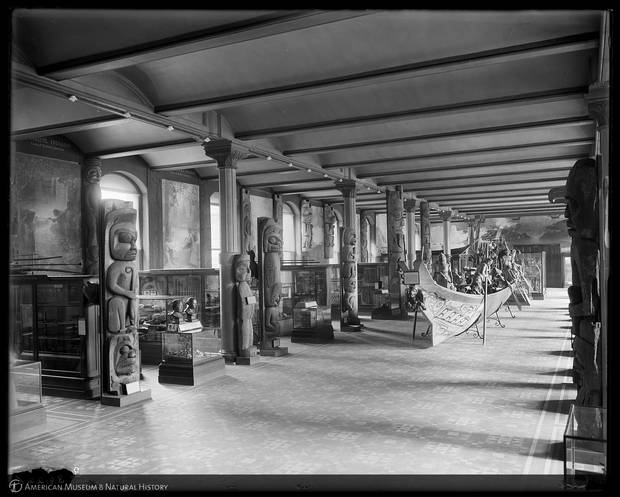 While there have been some changes to the Northwest Coast Hall since it was first opened including the relocation of the Great Canoe and the addition of four 18-foot totem poles in the 1920s the historic gallery that is pictured here in 1914 has largely remained intact.