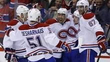 'We're at the top, it's fun right now. … It's awesome. If we were in last place they wouldn't be saying anything about us. We're in first place, it's the best feeling in the world,' says Montreal Canadiens forward Max Pacioretty, right. (MARK BLINCH/REUTERS)