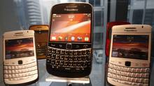 BlackBerry smartphones are displayed at a store in Seoul, Jan. 18, 2012. (KIM HONG-JI/Kim Hong-Ji/Reuters)