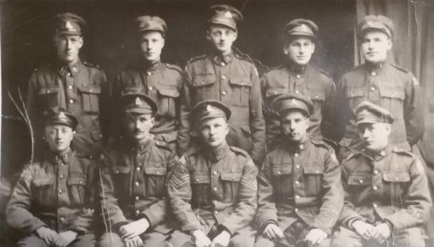 William R. (Bill) Stephens, second row, second from right, is shown in England in March, 1919, as he and his comrades wait to ship back to Canada.