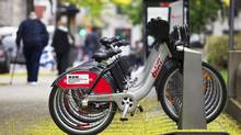 A Bixi bike stand in Old Montreal on May 17, 2011. (CHRISTINNE MUSCHI FOR THE GLOBE AND MAIL)