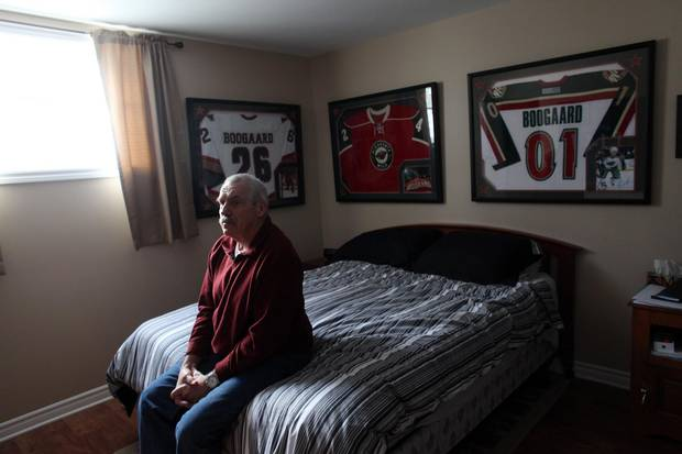Len Boogaard, father of late NHL player Dereck Boogaard sits in his spare bedroom at his home January 5, 2017 in Ottawa.