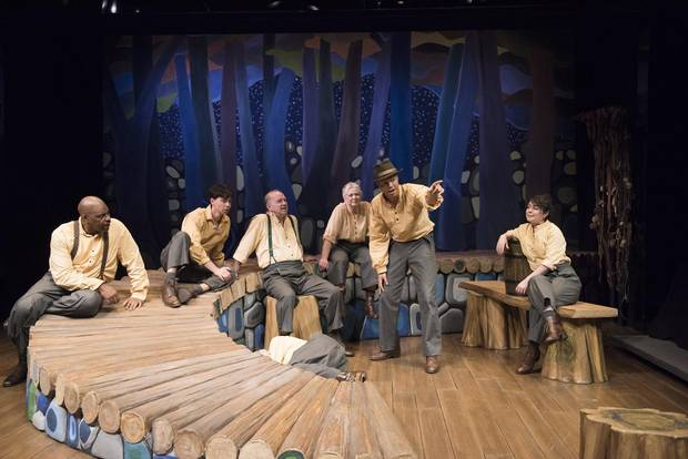 Jonah McIntosh (centre) with the cast of 1837: The Farmer's Revolt. Photo by David Cooper.