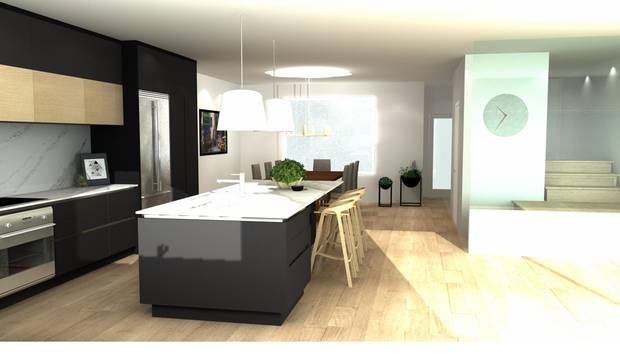 A rendering of the dining room and kitchen, without the wall.